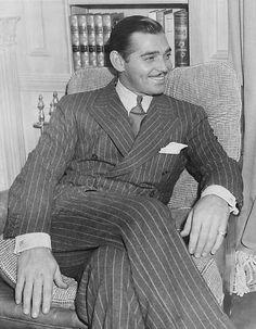 Clark Gable w garniturze w prążek