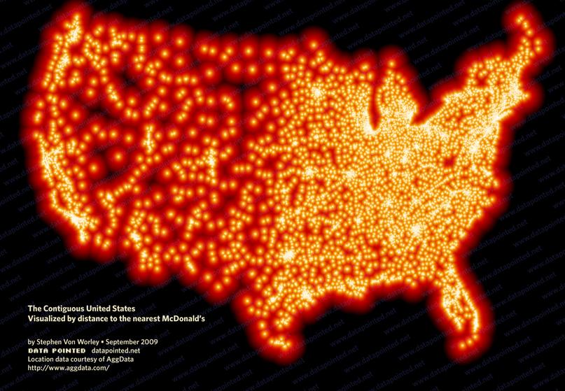 mapa sieci McDonald's w Stanach Zjednoczonych
