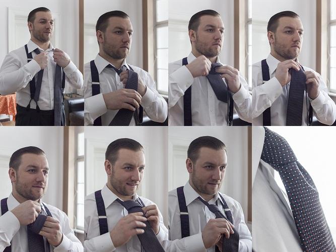 Tomasz Miler pokazuje, jak wiąże się krawat