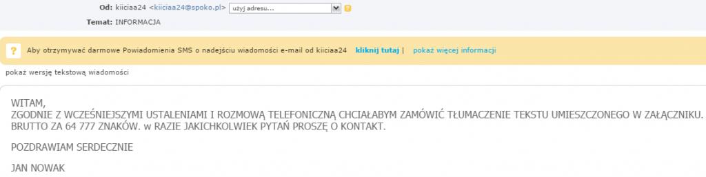 wiadomość e-mail z włączonym caps lock
