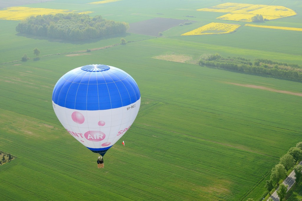 niebieski balon nad zielonymi polami