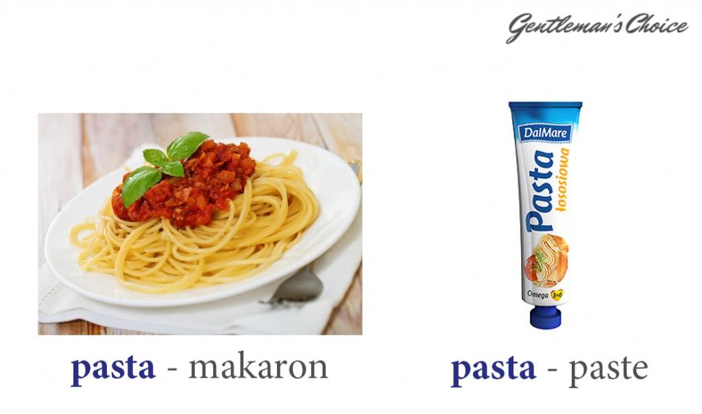 pasta = makaron, pasta = paste