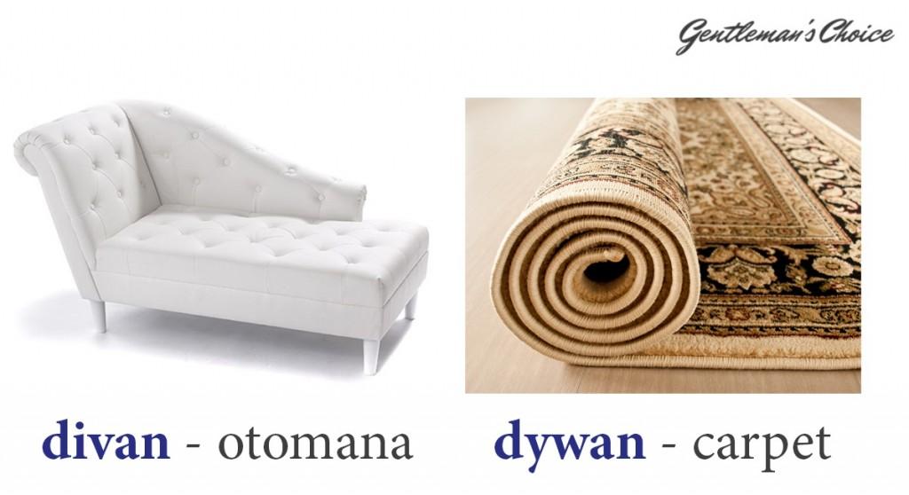 divan = otomana, dywan = carpet