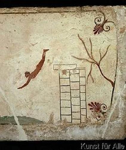 malunek naskalny przedstawiający skok do wody
