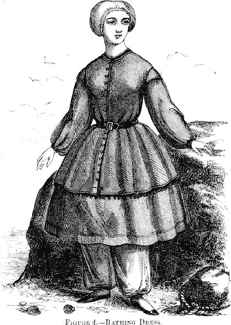 sukienka kąpielowa z połowy XIX w.