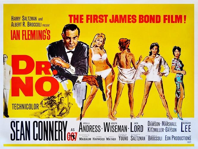 przykład male gaze w kinie: plakat Doktora No. z czterema kobietami w negliżu i Jamesem Bondem obok
