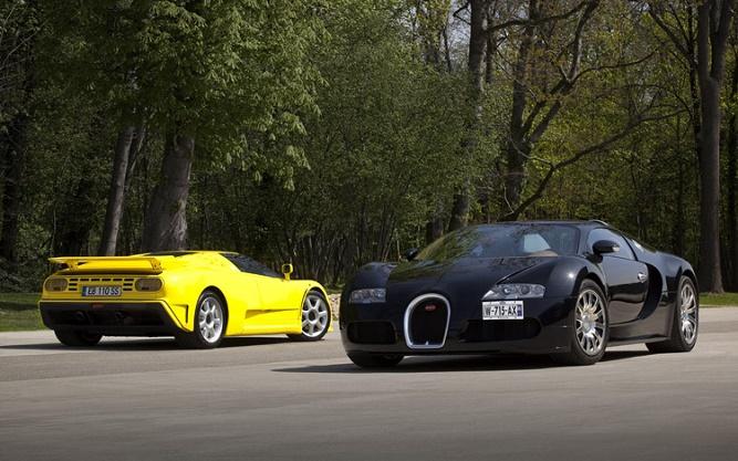 2010-bugatti-veyron-1992-bugatti-EB-110-SS-three-quarters
