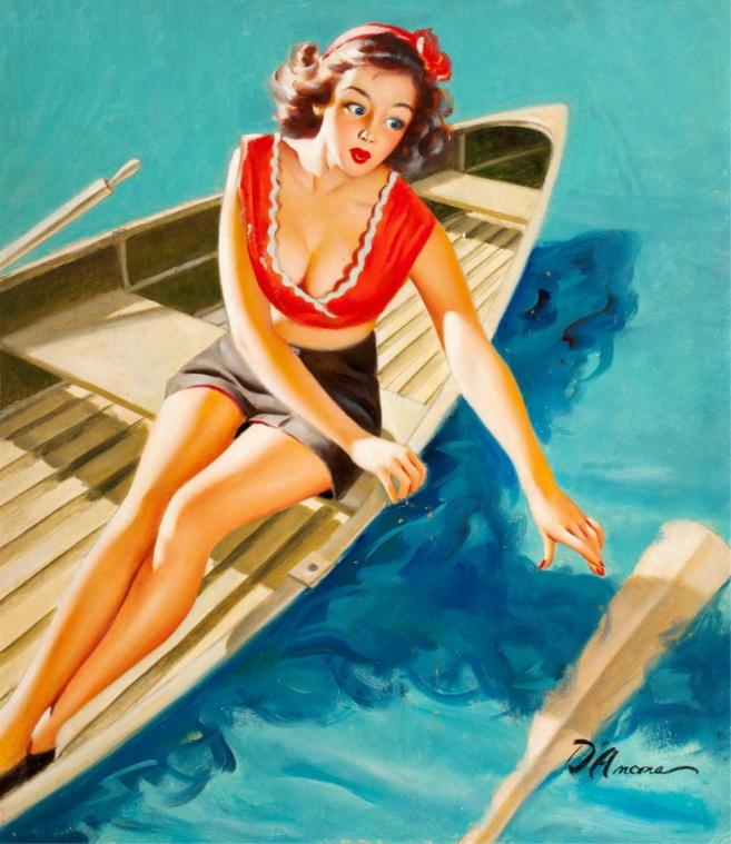 Pin Up girl na łódce